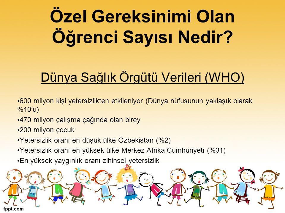 Türkiye Özürlüler Araştırması Bulguları Toplam nüfusun içindeki özel gereksinimli birey oranı % 12.29 Ortopedik, görme, işitme, dil ve konuşma ile zihinsel özürlülerin oranı % 2.58 (1.8 milyon!) Süreğen hastalığı olanların oranı % 9.70