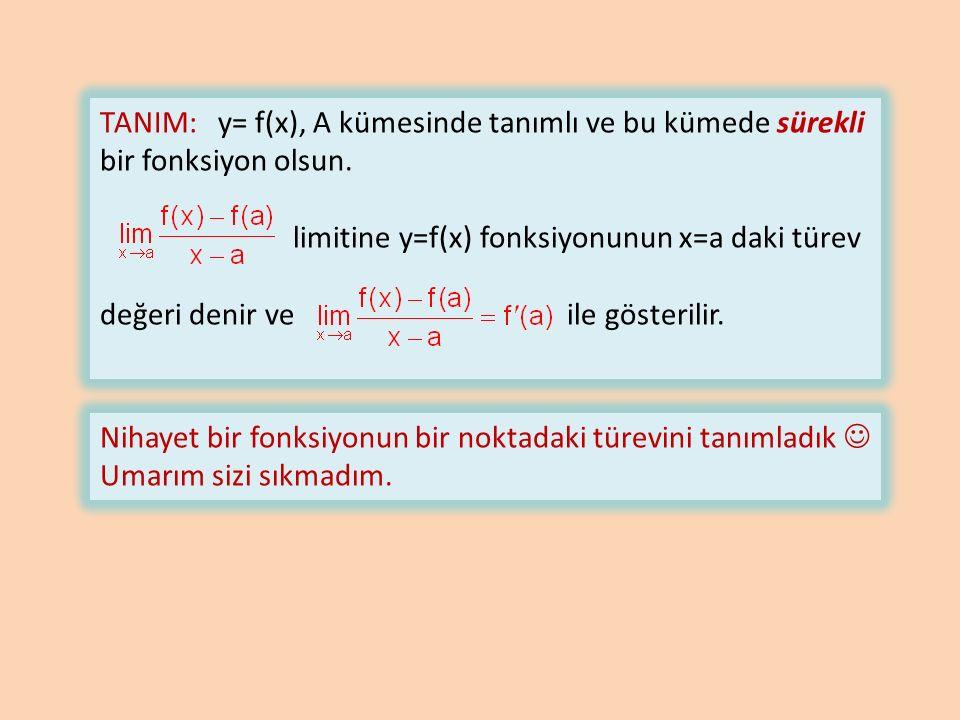 TANIM: y= f(x), A kümesinde tanımlı ve bu kümede sürekli bir fonksiyon olsun.