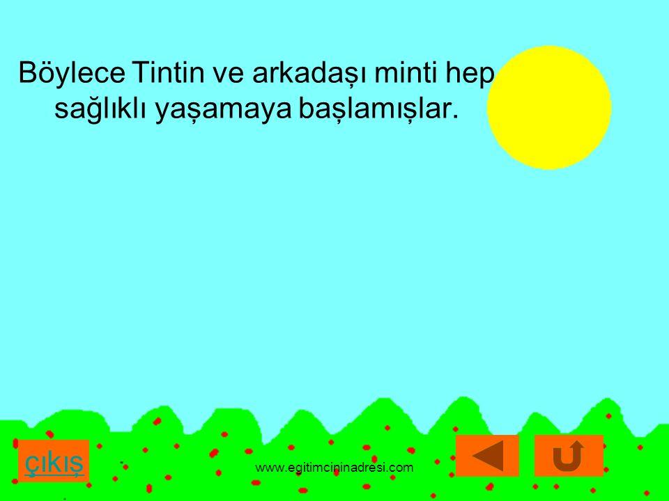 çıkış çıkış Böylece Tintin ve arkadaşı minti hep sağlıklı yaşamaya başlamışlar. www.egitimcininadresi.com
