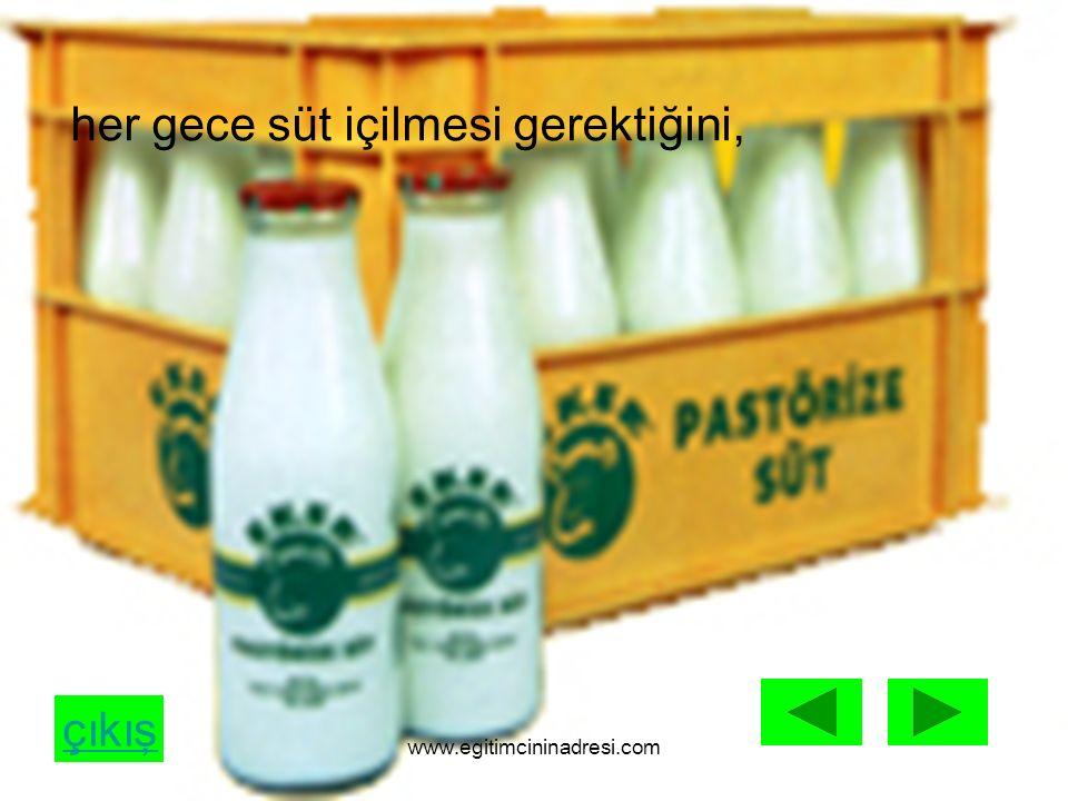 çıkış her gece süt içilmesi gerektiğini, www.egitimcininadresi.com