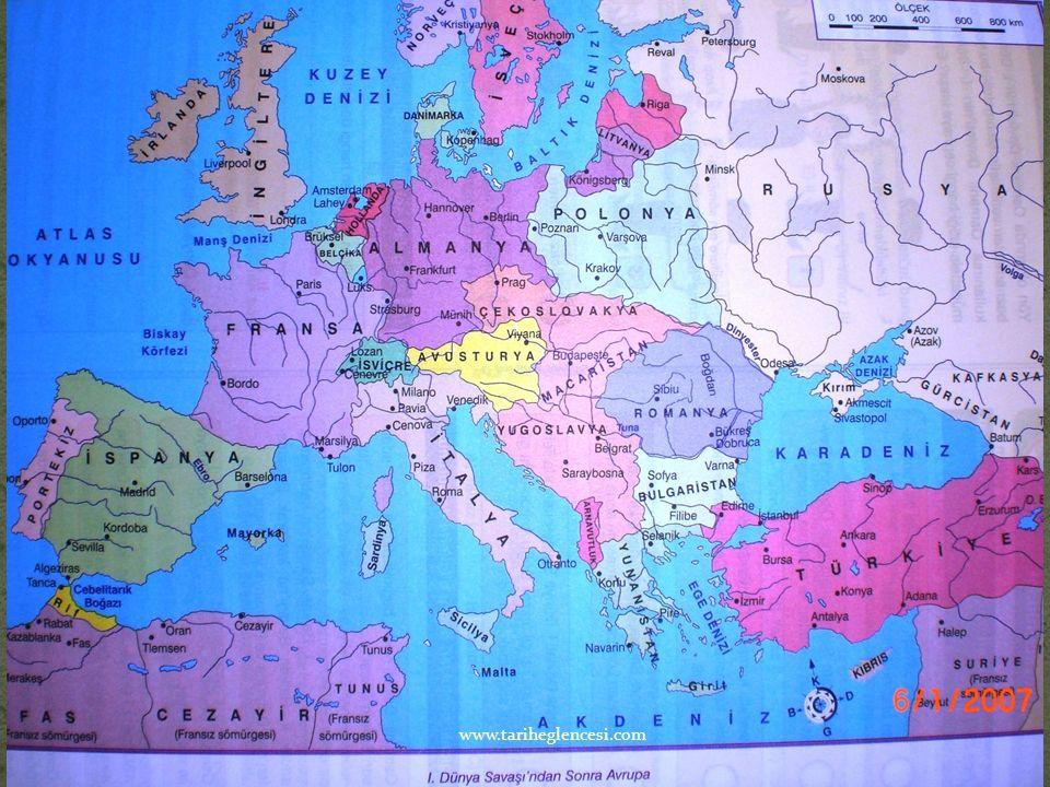 I.Dünya Savaşı sonucunda Almanya ile Versay,Avusturya ile Sen Jermen Macaristan ile Trianon, Bulgaristanla Nöyyi, Osmanlı Devleti ile Sevr antlaşmalar