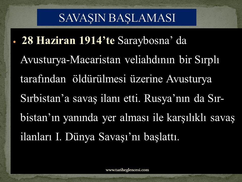 28 Haziran 1914'te Saraybosna' da Avusturya-Macaristan veliahdının bir Sırplı tarafından öldürülmesi üzerine Avusturya Sırbistan'a savaş ilanı etti.