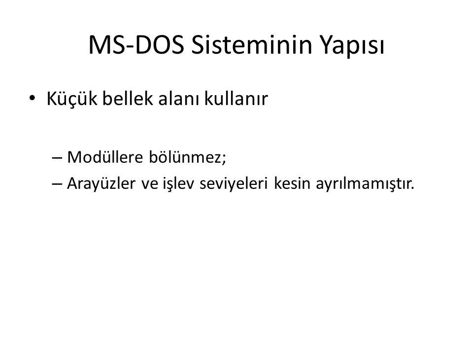MS-DOS Sisteminin Yapısı Küçük bellek alanı kullanır – Modüllere bölünmez; – Arayüzler ve işlev seviyeleri kesin ayrılmamıştır.