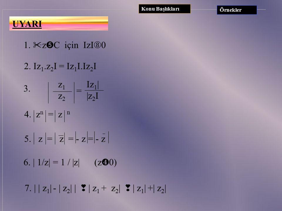 BİR KARMAŞIK SAYININ MUTLAK DEĞERİ Karmaşık düzlemde z = x+yi sayısına karşılık gelen noktanın orjine olan uzaklığına z karmaşık sayısının mutlak değe