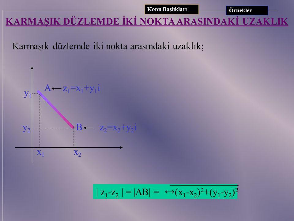 ÖRNEKLER 1. Aşağıdaki karmaşık sayıları düzlemde görüntüleyerek mutlak değerini bulunuz. A) z = 2 + 3i B) z = -  5 i C) z= -3 2. ( -2 + 3i ) ( 8 +6 i