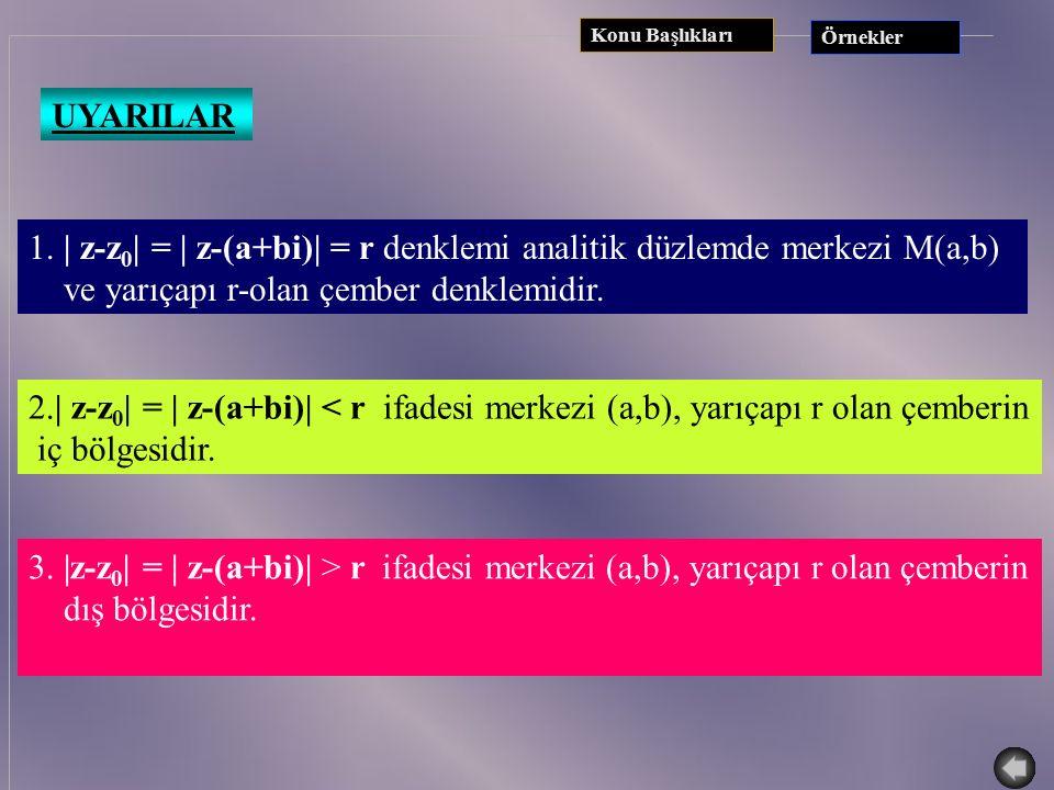 y b a x z0z0 z UYARILAR z 0  C, z 0 =a+bi |z-z 0 |=r, r  R, z=x+yi |z-z 0 |=r ise| (x+iy)-(a+bi) | = r  (x-a) 2 +(y-b) 2 = r ise (x-a) 2 +(y-b) 2 =