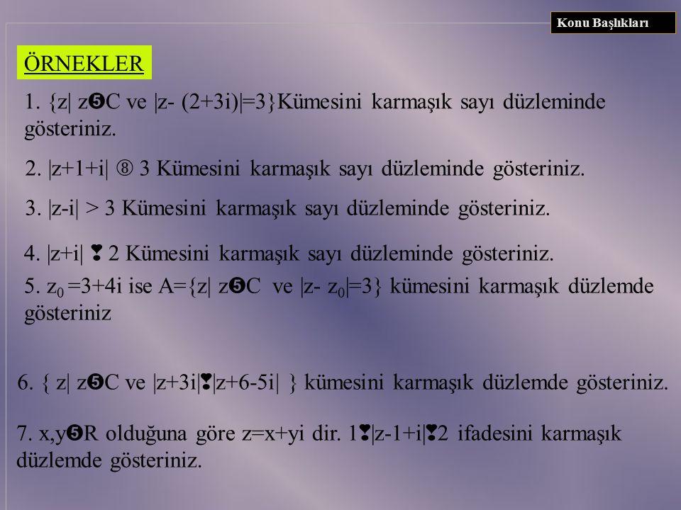UYARILAR Konu Başlıkları 1. | z-z 0 | = | z-(a+bi)| = r denklemi analitik düzlemde merkezi M(a,b) ve yarıçapı r-olan çember denklemidir. 2.| z-z 0 | =