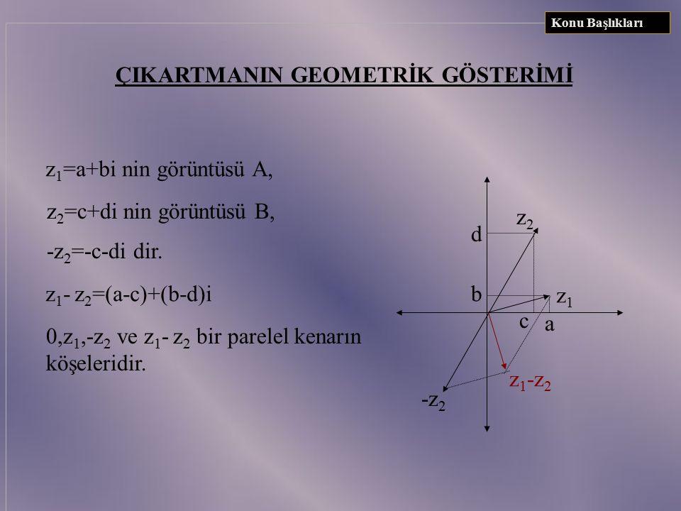 TOPLAMIN GEOMETRİK GÖSTERİMİ : z 1 =a+bi z 2 =c+di  z 1 +z 2 =(a+c)+(b+d)i 0,z 1,z 2 ve z 1 +z 2 bir parelel kenarın köşeleridir. ac b d z1z1 z2z2 z