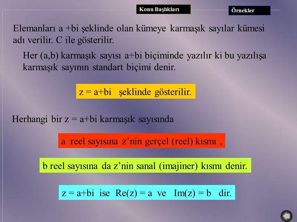 Konu Başlıkları TANIM: x 2 +1 = 0 denkleminin gerçel sayılar kümesinde çözümü olmadığını biliyoruz.(  <0) x 2 +1 = 0 denkleminin çözülebildiği ve ger