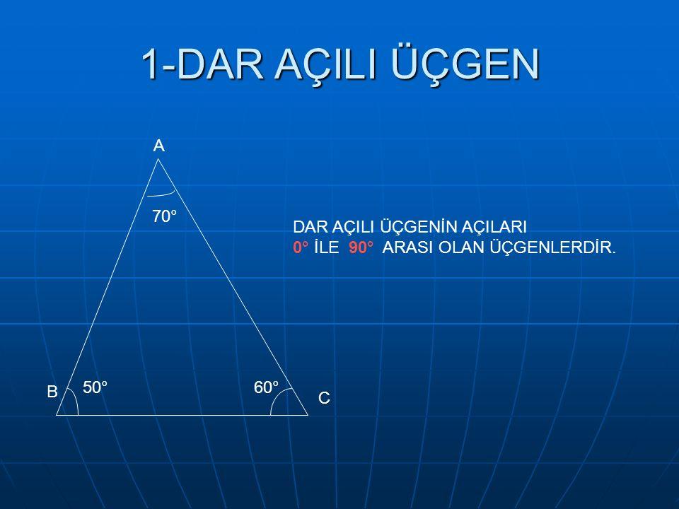 1-DAR AÇILI ÜÇGEN A 70° 50°60° DAR AÇILI ÜÇGENİN AÇILARI 0° İLE 90° ARASI OLAN ÜÇGENLERDİR. B C