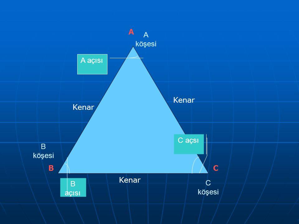 C açsı A açısı B açısı A köşesi C köşesi B köşesi BC A Kenar