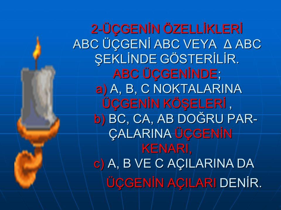 2-ÜÇGENİN ÖZELLİKLERİ ABC ÜÇGENİ ABC VEYA Δ ABC ŞEKLİNDE GÖSTERİLİR. ABC ÜÇGENİNDE; a) A, B, C NOKTALARINA ÜÇGENİN KÖŞELERİ, b) BC, CA, AB DOĞRU PAR-