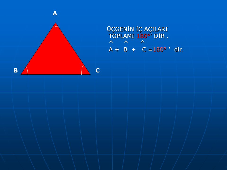 ÜÇGENİN İÇ AÇILARI TOPLAMI 180°' DİR. ^ ^ ^ A + B + C =180° ' dir. A BC
