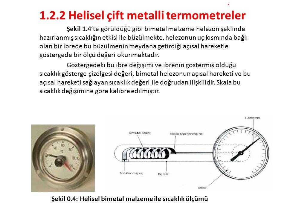 1.2.2 Helisel çift metalli termometreler Şekil 1.4'te görüldüğü gibi bimetal malzeme helezon şeklinde hazırlanmış sıcaklığın etkisi ile büzülmekte, helezonun uç kısmında bağlı olan bir ibrede bu büzülmenin meydana getirdiği açısal hareketle göstergede bir ölçü değeri okunmaktadır.