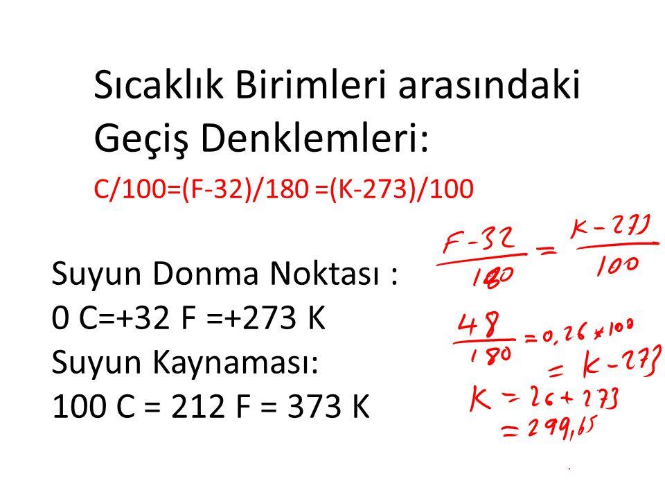 Suyun Donma Noktası : 0 C=+32 F =+273 K Suyun Kaynaması: 100 C = 212 F = 373 K Sıcaklık Birimleri arasındaki Geçiş Denklemleri: C/100=(F-32)/180 =(K-273)/100