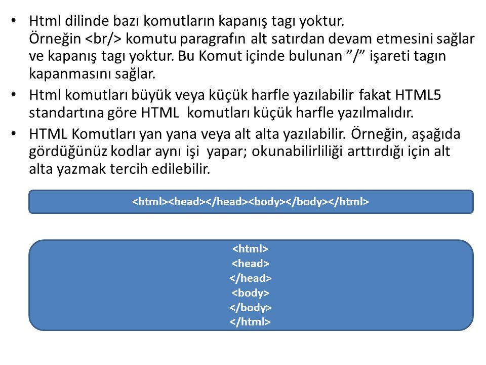 Html dilinde bazı komutların kapanış tagı yoktur.
