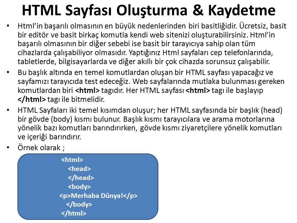 Oluşturduğunuz HTML sayfasının bir başlığa (title) sahip olmasını istiyorsanız tagının içinde tagını kullanmalısınız.