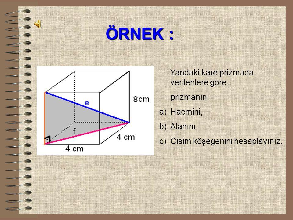 2) KARE PRİZMA Alan = Y A + 2. T A A=2a 2 +4ah
