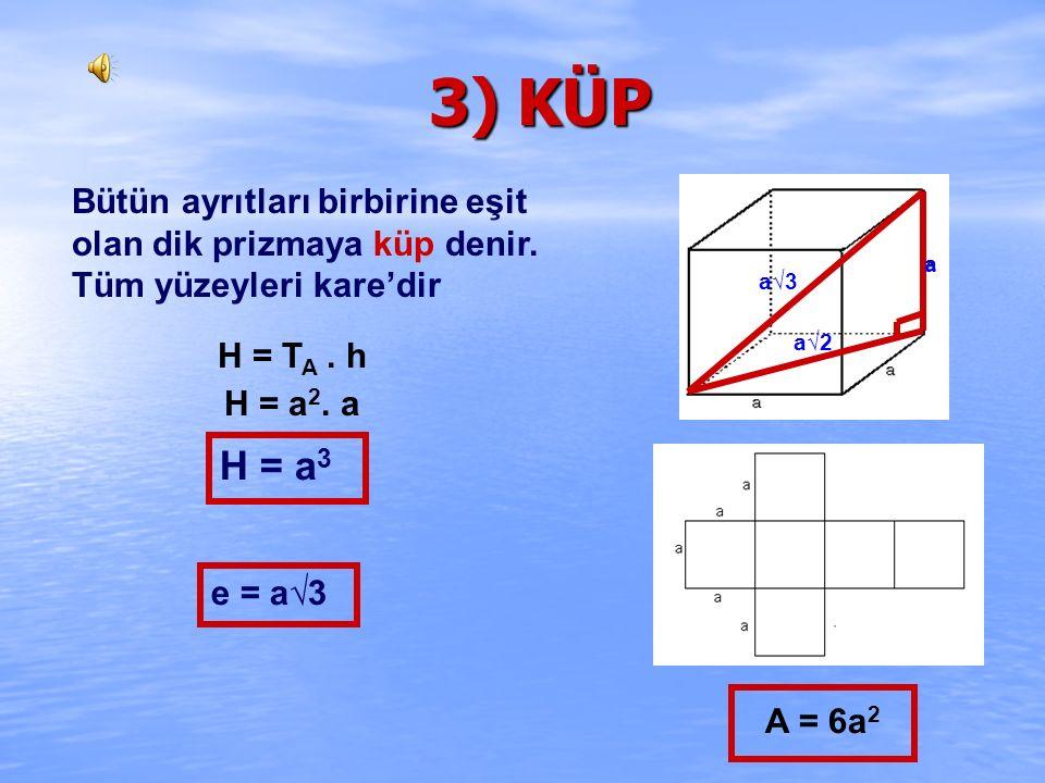 ÇÖZÜM : 30 0 f = 4 br A)32√3 B)18√3 C)32√3 D)8√6 2√2 4 30 0 nin karşısı 4 br ise, 60 0 nin karşısı 4√3 br olur. 4√3 H = T A. h H = a 2.h H =(2√2) 2.4√