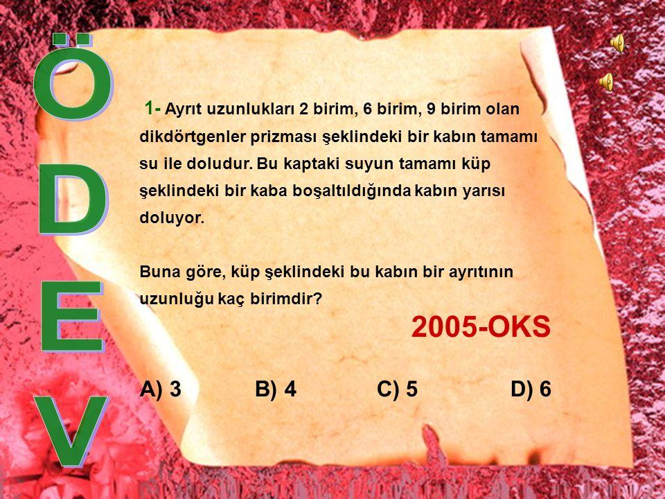 ÇÖZÜM : A)4√2 B)6 C)6√ 2 D)8 22 2 4 T |AT| 2 = 4 2 + 2 2 |AT| = √20 |AT| = 2√5 cm 2√5 4 |AK| 2 = 4 2 + (2√5) 2 |AK| 2 = 16 + 20 |AK| = 6 cm