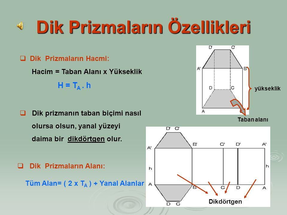 Dik Prizmaların Özellikleri  Alt ve üst tabanları paralel eş şekillerden oluşan cisimlere prizma denir.  Yan yüzeyleri taban düzlemine dik olan priz