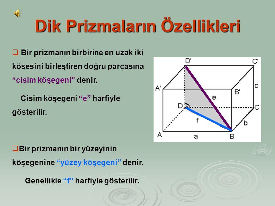 Dik Prizmaların Özellikleri  Dik Prizmaların Hacmi: Hacim = Taban Alanı x Yükseklik H = T A. h  Dik prizmanın taban biçimi nasıl olursa olsun, yanal