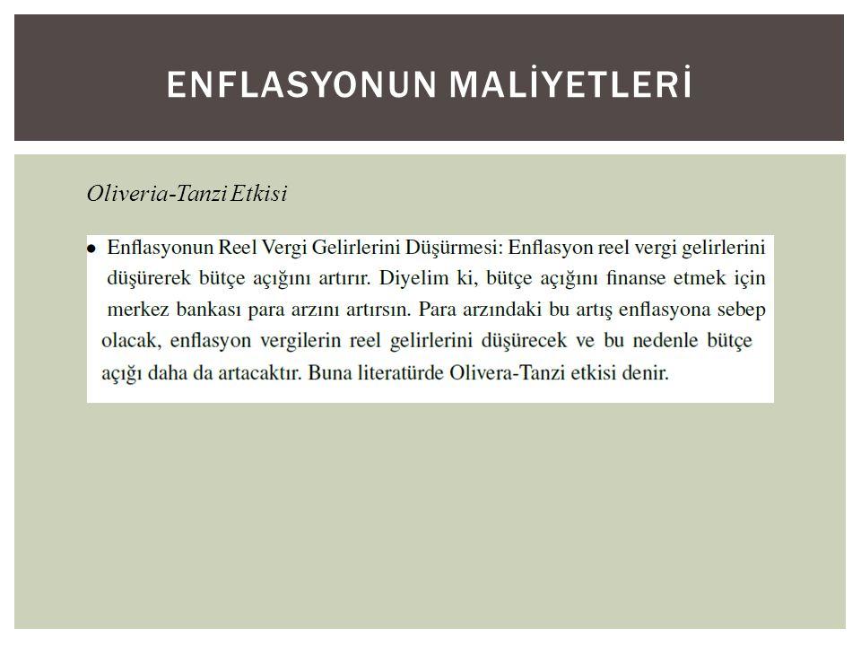 ENFLASYONUN MALİYETLERİ Oliveria-Tanzi Etkisi