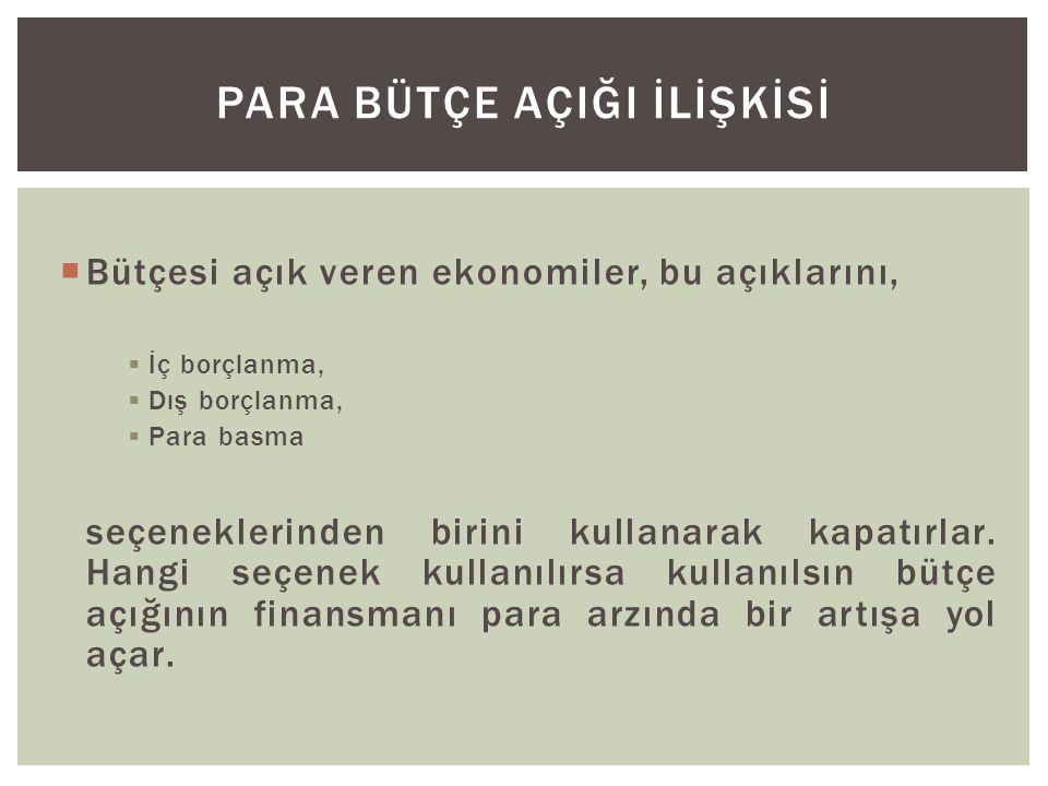  Bütçesi açık veren ekonomiler, bu açıklarını,  İç borçlanma,  Dış borçlanma,  Para basma seçeneklerinden birini kullanarak kapatırlar.