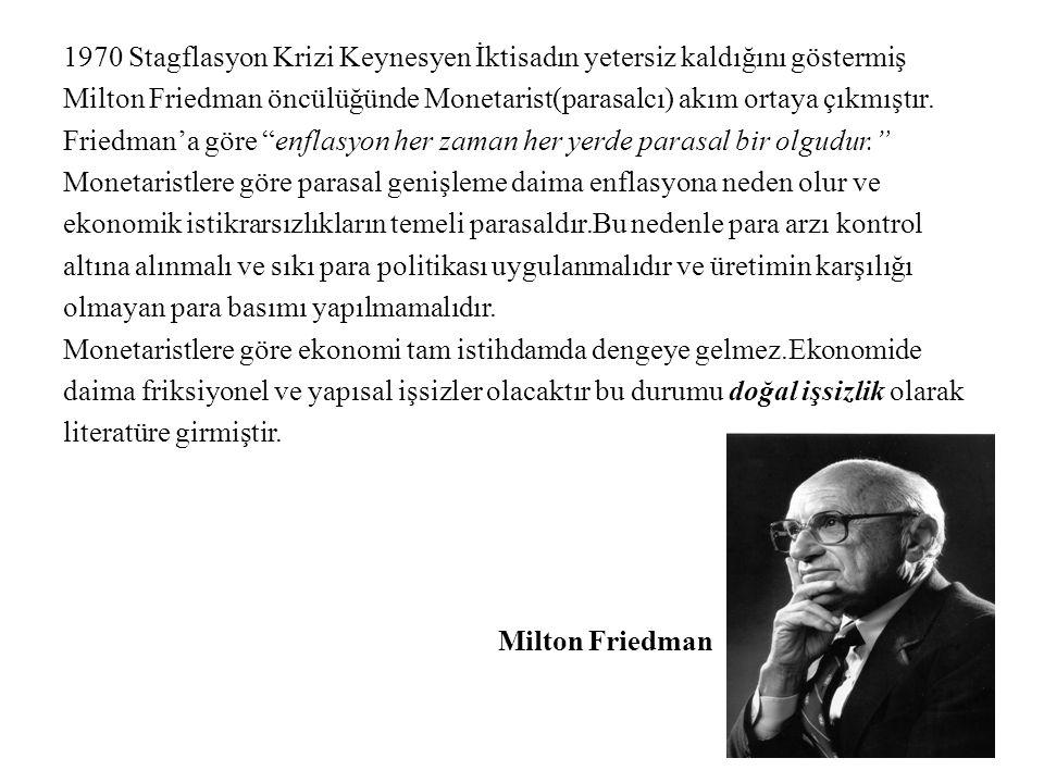 1970 Stagflasyon Krizi Keynesyen İktisadın yetersiz kaldığını göstermiş Milton Friedman öncülüğünde Monetarist(parasalcı) akım ortaya çıkmıştır. Fried