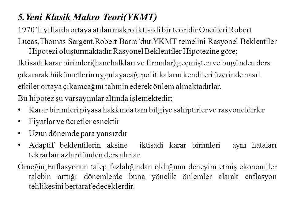 5.Yeni Klasik Makro Teori(YKMT) 1970'li yıllarda ortaya atılan makro iktisadi bir teoridir.Öncüleri Robert Lucas,Thomas Sargent,Robert Barro'dur.YKMT