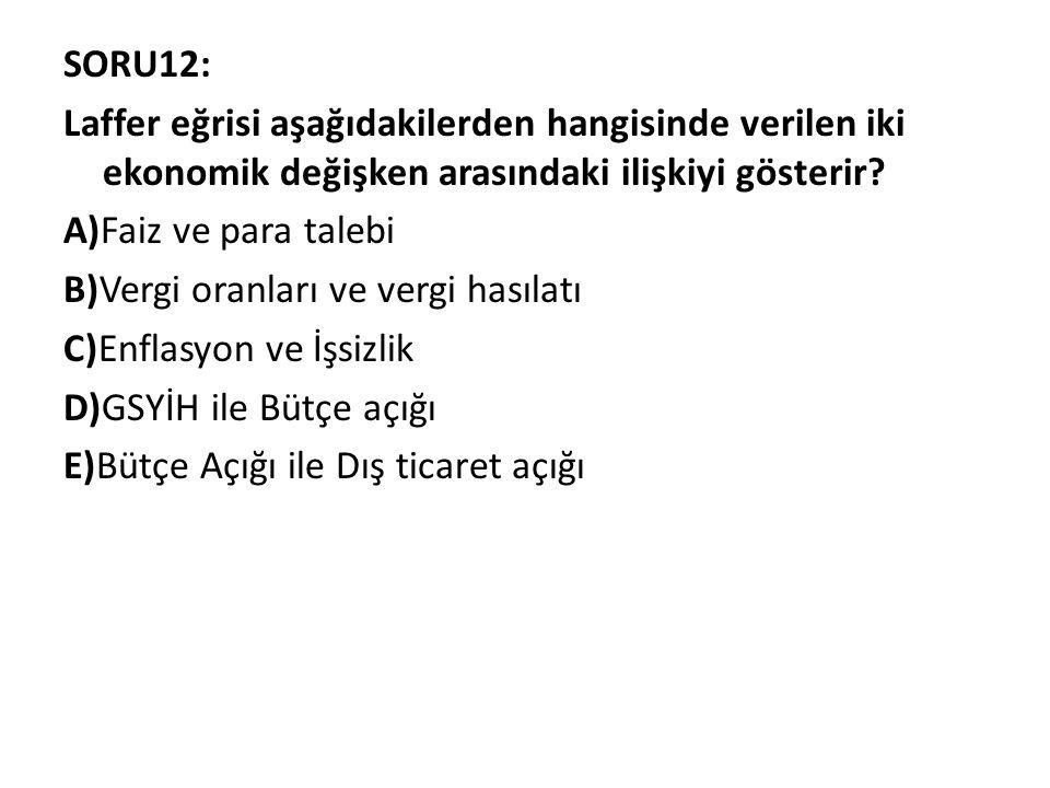 SORU12: Laffer eğrisi aşağıdakilerden hangisinde verilen iki ekonomik değişken arasındaki ilişkiyi gösterir? A)Faiz ve para talebi B)Vergi oranları ve