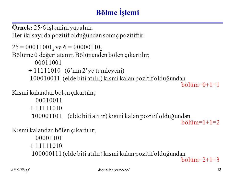 13 Ali Gülbağ Mantık Devreleri Bölme İşlemi Örnek: 25/6 işlemini yapalım. Her iki sayı da pozitif olduğundan sonuç pozitiftir. 25 = 00011001 2 ve 6 =