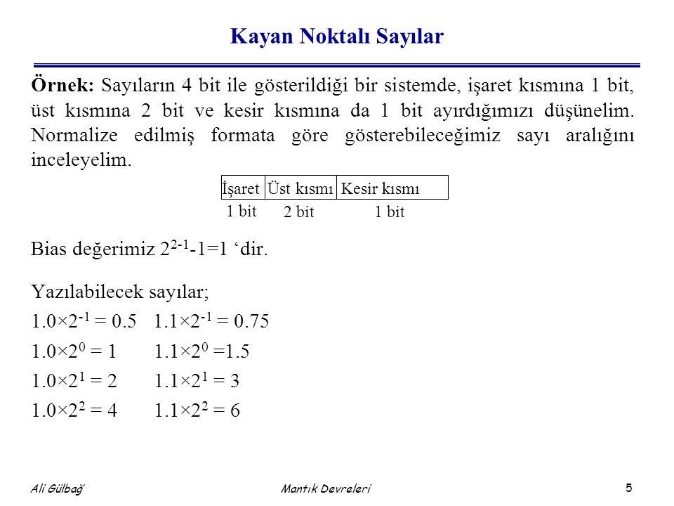 5 Ali Gülbağ Mantık Devreleri Kayan Noktalı Sayılar Örnek: Sayıların 4 bit ile gösterildiği bir sistemde, işaret kısmına 1 bit, üst kısmına 2 bit ve kesir kısmına da 1 bit ayırdığımızı düşünelim.