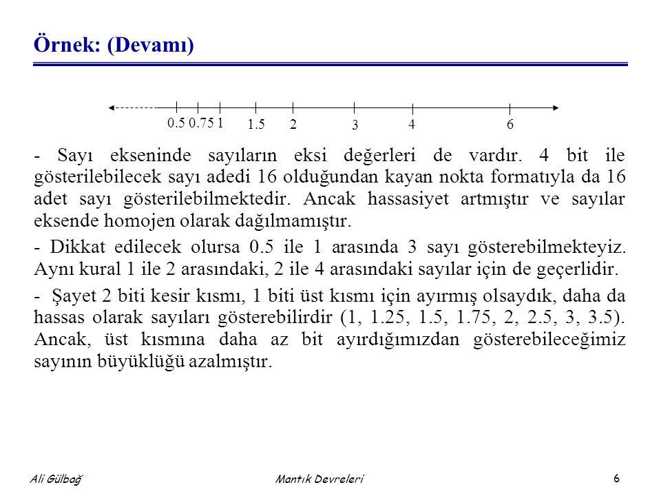 6 Ali Gülbağ Mantık Devreleri Örnek: (Devamı) - Sayı ekseninde sayıların eksi değerleri de vardır. 4 bit ile gösterilebilecek sayı adedi 16 olduğundan