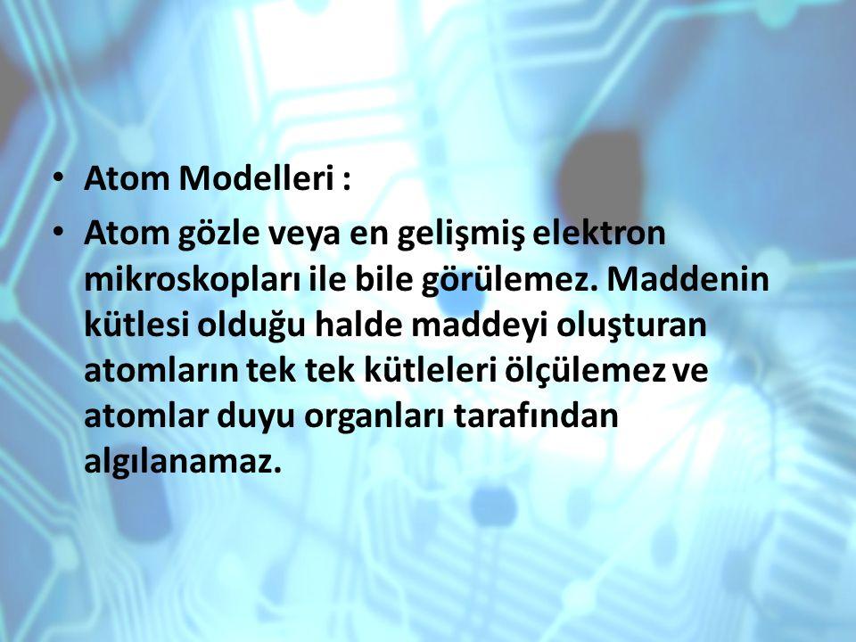 Atom Modelleri : Atom gözle veya en gelişmiş elektron mikroskopları ile bile görülemez. Maddenin kütlesi olduğu halde maddeyi oluşturan atomların tek