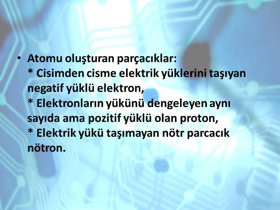 Atomu oluşturan parçacıklar: * Cisimden cisme elektrik yüklerini taşıyan negatif yüklü elektron, * Elektronların yükünü dengeleyen aynı sayıda ama poz