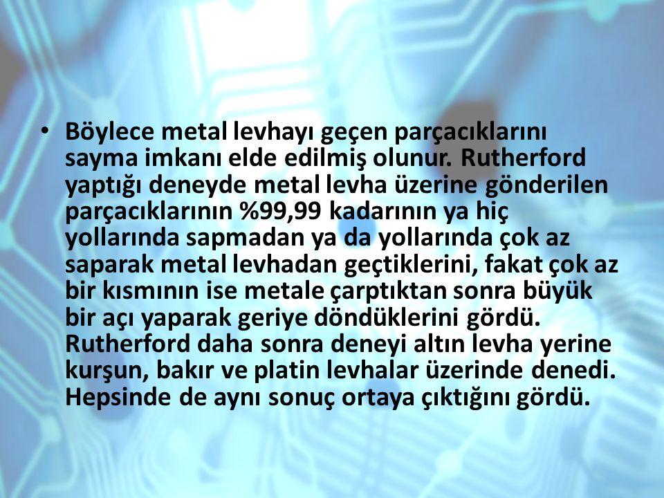 Böylece metal levhayı geçen parçacıklarını sayma imkanı elde edilmiş olunur. Rutherford yaptığı deneyde metal levha üzerine gönderilen parçacıklarının