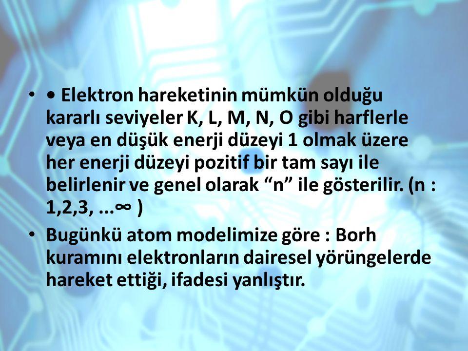 Elektron hareketinin mümkün olduğu kararlı seviyeler K, L, M, N, O gibi harflerle veya en düşük enerji düzeyi 1 olmak üzere her enerji düzeyi pozitif