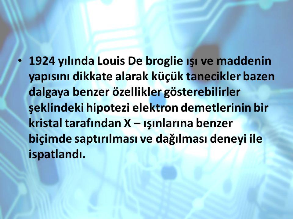 1924 yılında Louis De broglie ışı ve maddenin yapısını dikkate alarak küçük tanecikler bazen dalgaya benzer özellikler gösterebilirler şeklindeki hipo