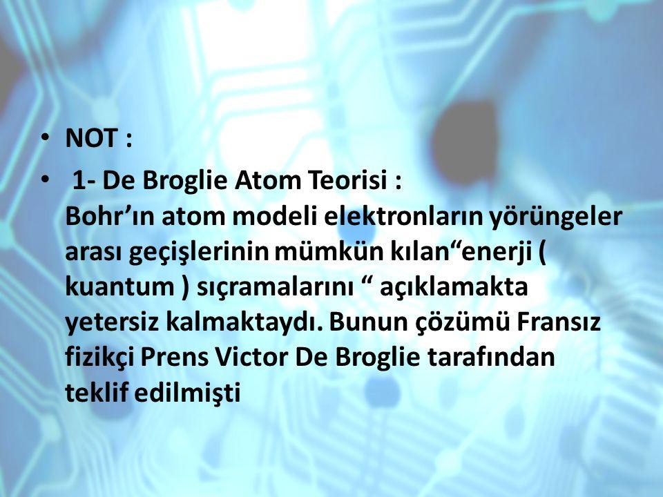 """NOT : 1- De Broglie Atom Teorisi : Bohr'ın atom modeli elektronların yörüngeler arası geçişlerinin mümkün kılan""""enerji ( kuantum ) sıçramalarını """" açı"""