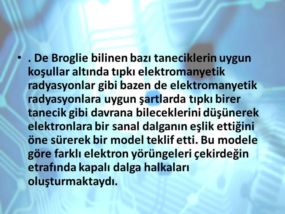 . De Broglie bilinen bazı taneciklerin uygun koşullar altında tıpkı elektromanyetik radyasyonlar gibi bazen de elektromanyetik radyasyonlara uygun şar