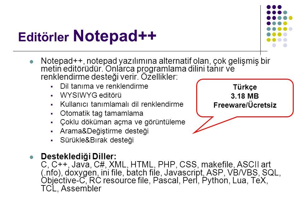 Editörler Notepad++ Notepad++, notepad yazılımına alternatif olan, çok gelişmiş bir metin editörüdür. Onlarca programlama dilini tanır ve renklendirme