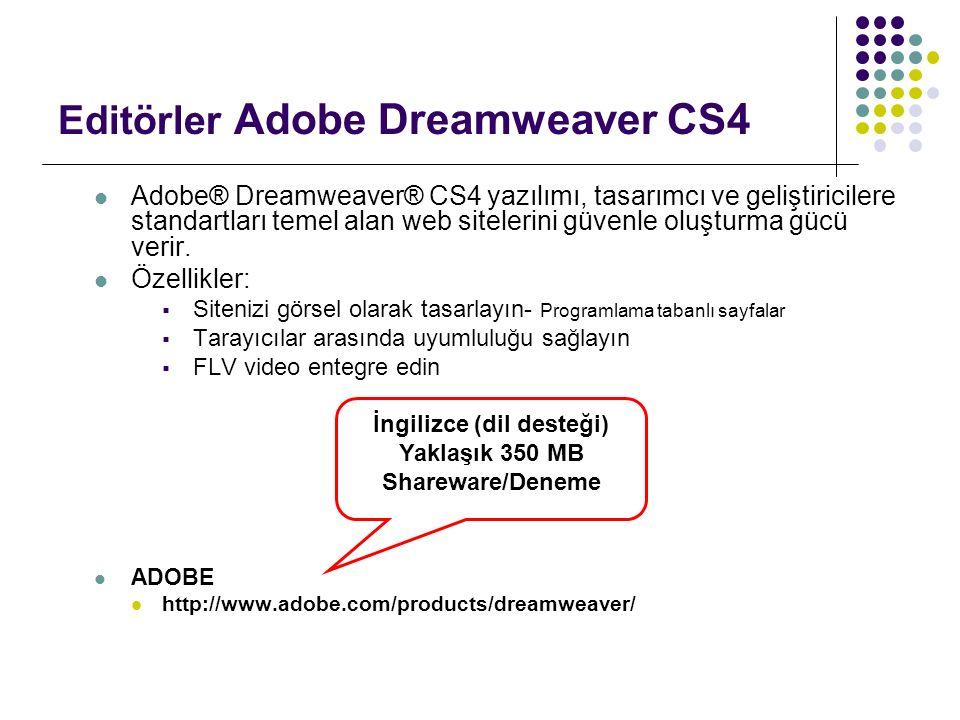 Editörler Adobe Dreamweaver CS4 Adobe® Dreamweaver® CS4 yazılımı, tasarımcı ve geliştiricilere standartları temel alan web sitelerini güvenle oluşturm
