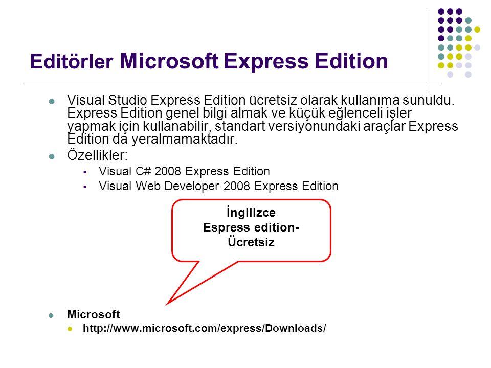 Editörler Microsoft Express Edition Visual Studio Express Edition ücretsiz olarak kullanıma sunuldu. Express Edition genel bilgi almak ve küçük eğlenc