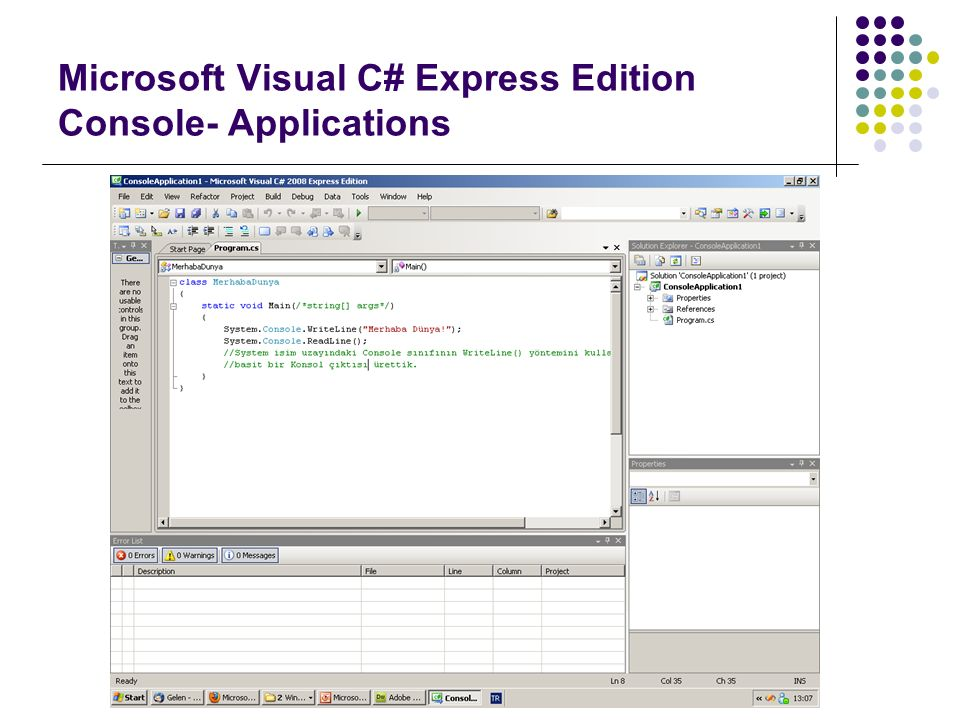Microsoft Visual C# Express Edition Console- Applications