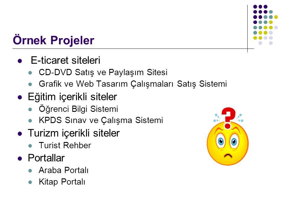 E-ticaret siteleri CD-DVD Satış ve Paylaşım Sitesi Grafik ve Web Tasarım Çalışmaları Satış Sistemi Eğitim içerikli siteler Öğrenci Bilgi Sistemi KPDS