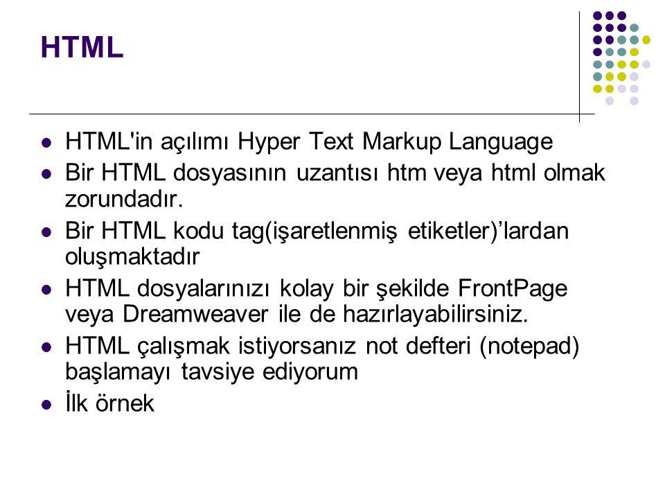 HTML HTML in açılımı Hyper Text Markup Language Bir HTML dosyasının uzantısı htm veya html olmak zorundadır.