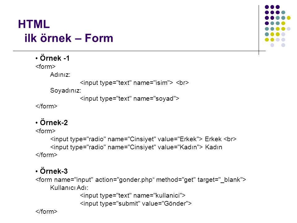 HTML ilk örnek – Form Örnek -1 Adınız: Soyadınız: Örnek-2 Erkek Kadın Örnek-3 Kullanıcı Adı: