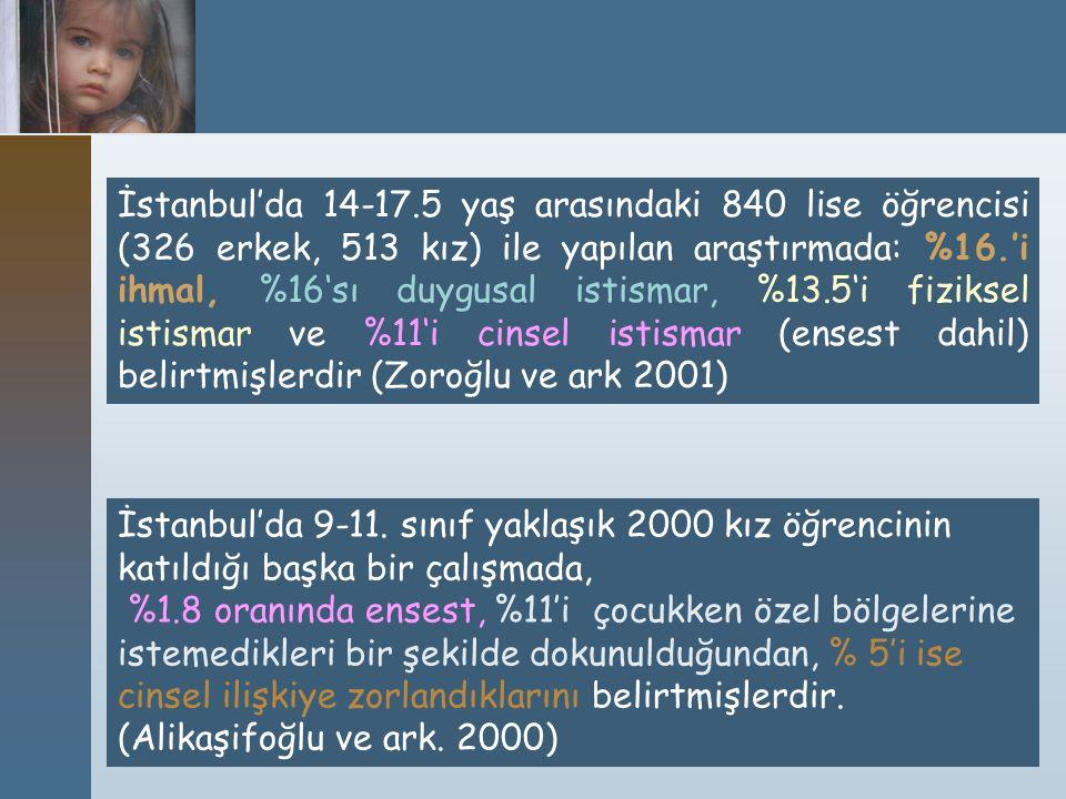 İstanbul'da 14-17.5 yaş arasındaki 840 lise öğrencisi (326 erkek, 513 kız) ile yapılan araştırmada: %16.'i ihmal, %16'sı duygusal istismar, %13.5'i fi