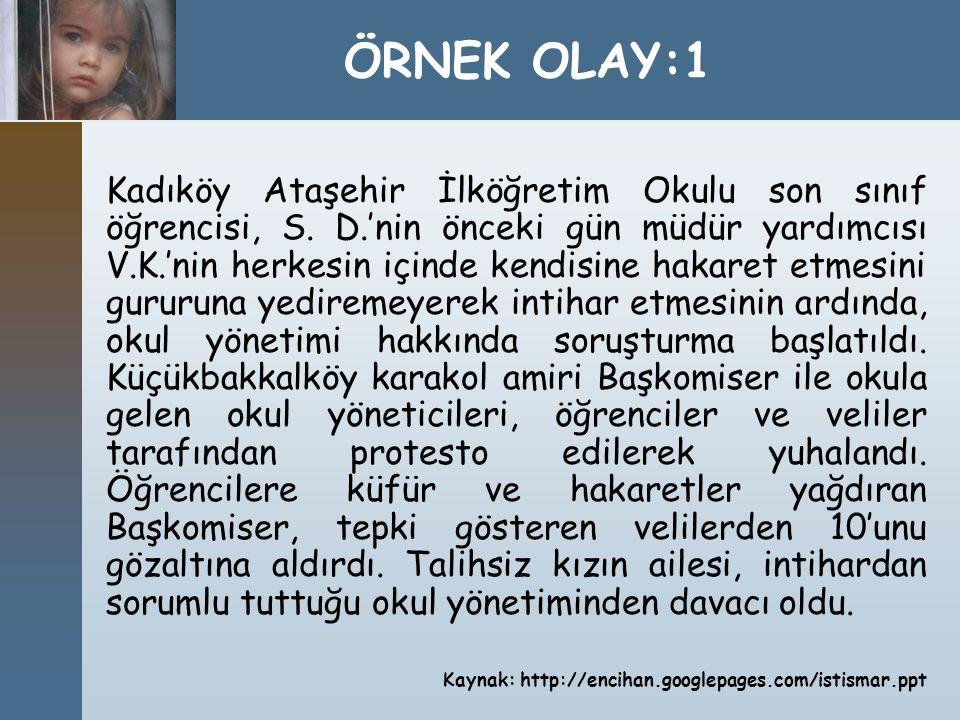 Kadıköy Ataşehir İlköğretim Okulu son sınıf öğrencisi, S. D.'nin önceki gün müdür yardımcısı V.K.'nin herkesin içinde kendisine hakaret etmesini gurur